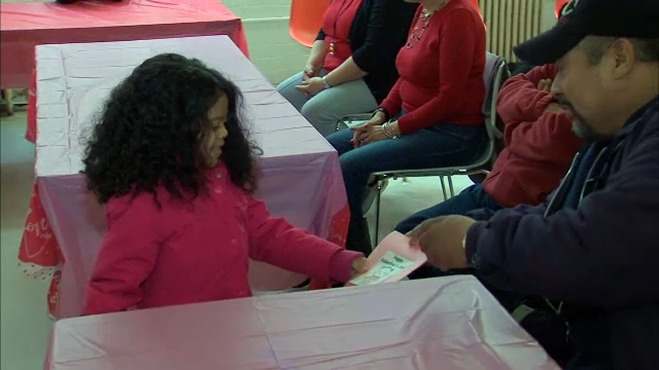 Kindergartners deliver Valentine's Day cards at senior center
